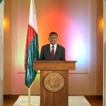 Le président Hery Rajaonarimampianina prononçant un discours de vœux à la nation, le 30 décembre 2015 au palais d'Etat d'Iavoloha. (Ph. Prm)