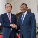 Le Secrétaire général de l'ONU, Ban Ki-Moon reçu au palais d'Etat d'Iavoloha par le président de Madagascar, Hery Rajaonarimampianina (Ph: Prm)