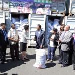 Arrivée d'une cargaison de don de riz chinois au port de Toamasina.